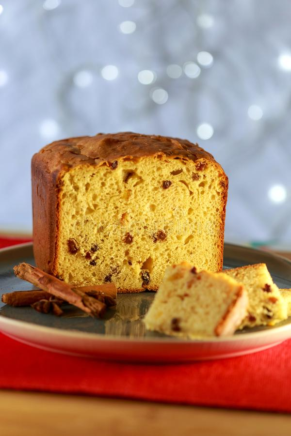 Panettone with lights background. Panettone loaf with lights background royalty free stock images