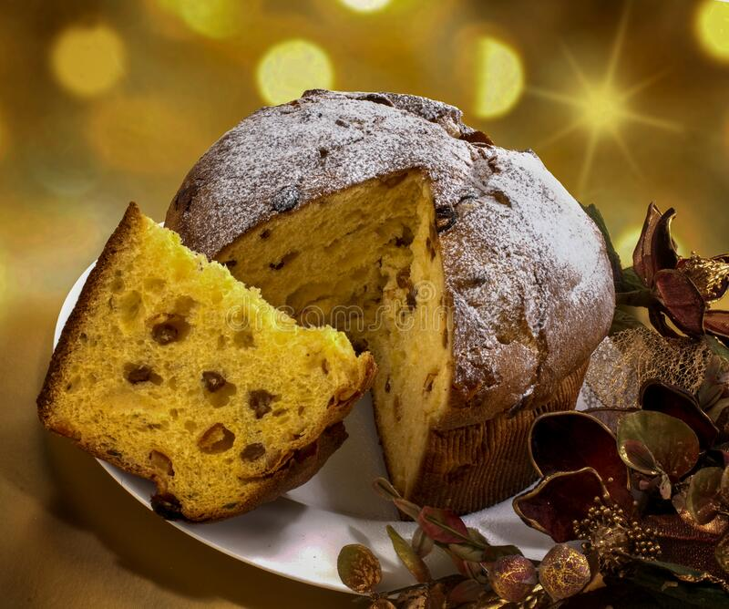 Panettone, original italian Christmas cake royalty free stock photo