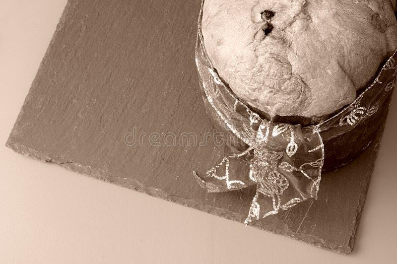 Panettone på sepiatappningsignal från över royaltyfri fotografi