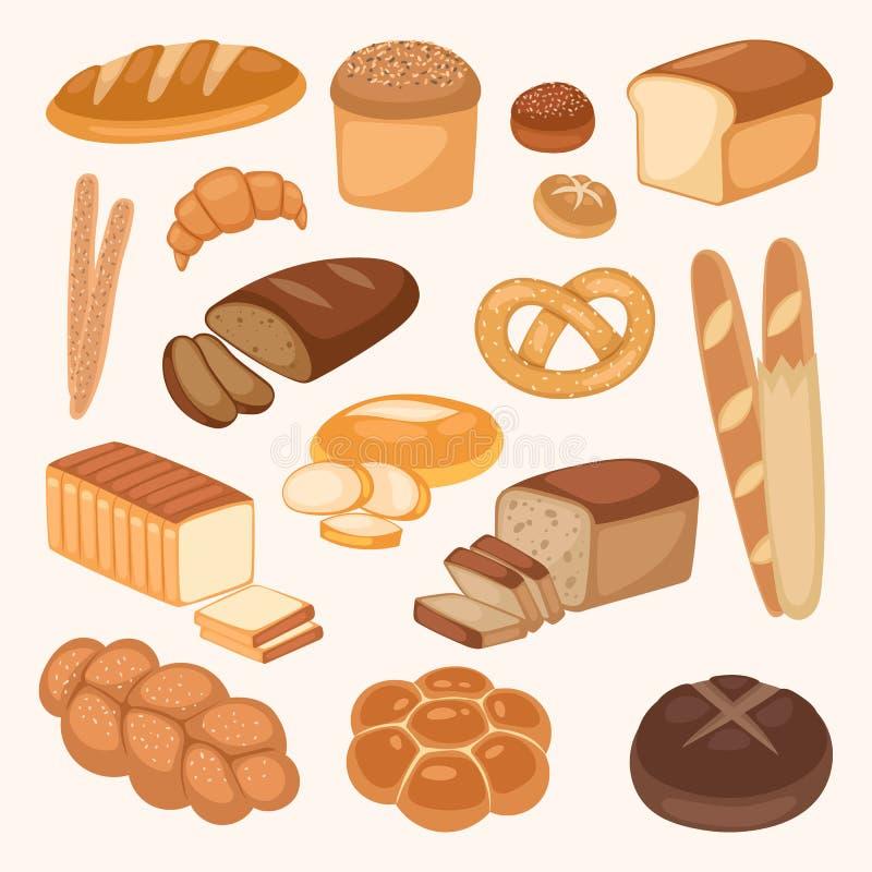 Panez la pâtisserie fraîche de repas d'agriculture biologique d'illustration de vecteur de couleur de produits de boulangerie illustration stock