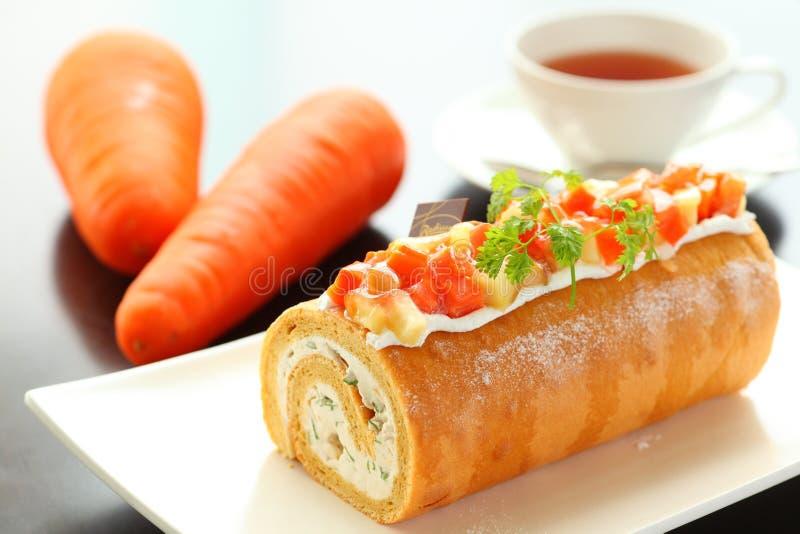Panez le gâteau des suites Bejiroru de Tomisato avec les carottes et le thé sur W photo stock