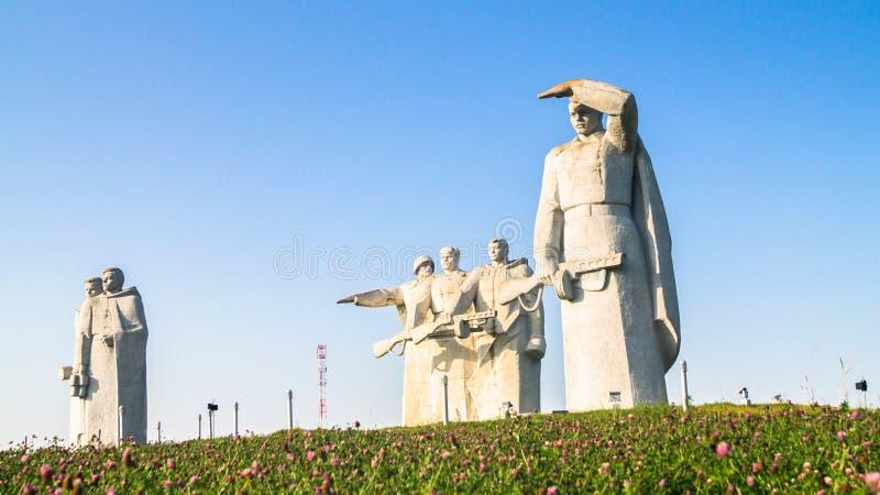 Panfilov分裂的光彩的英雄的纪念品,被击败的法西斯主义者在莫斯科作战, Dubosekovo,莫斯科地区,俄罗斯 免版税库存照片