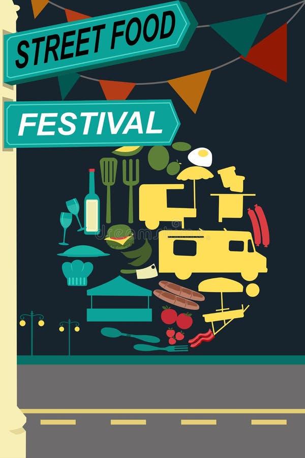 Panfleto do festival do alimento da rua ilustração stock