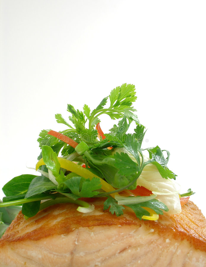 Panfried salmon with salad royalty free stock photos