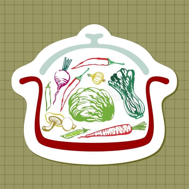Panful av grönsaker stock illustrationer