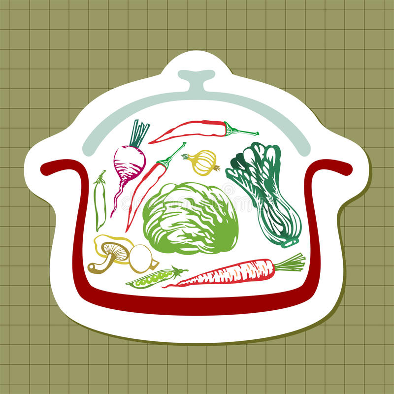 Panful of vegetables. Illustration with silhouette of pan and with hand drawn vegetables. (Vector file is layered EPS8, all elements are grouped stock illustration