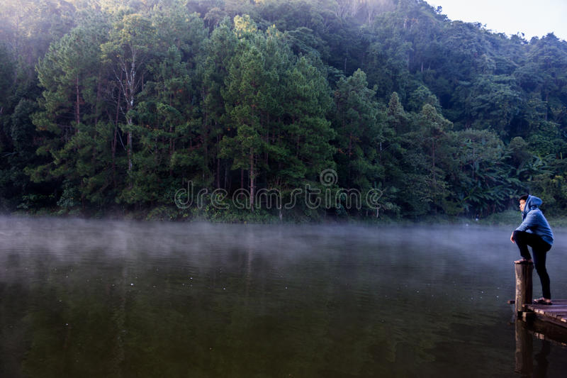 Pang Oung. Thailand - November 23, 2014: Reservoir located on high mountain of northern province of Thailand when before sunrise the cold of weather make cool royalty free stock image