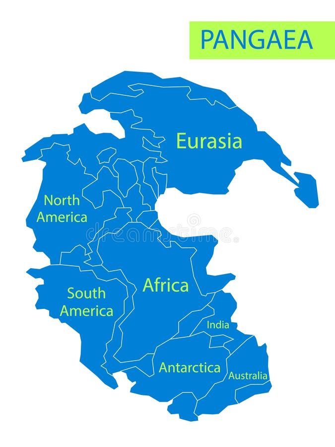 Pangaea or Pangea. Vector illustration of supercontinent that existed during the late Paleozoic and early Mesozoic eras royalty free illustration