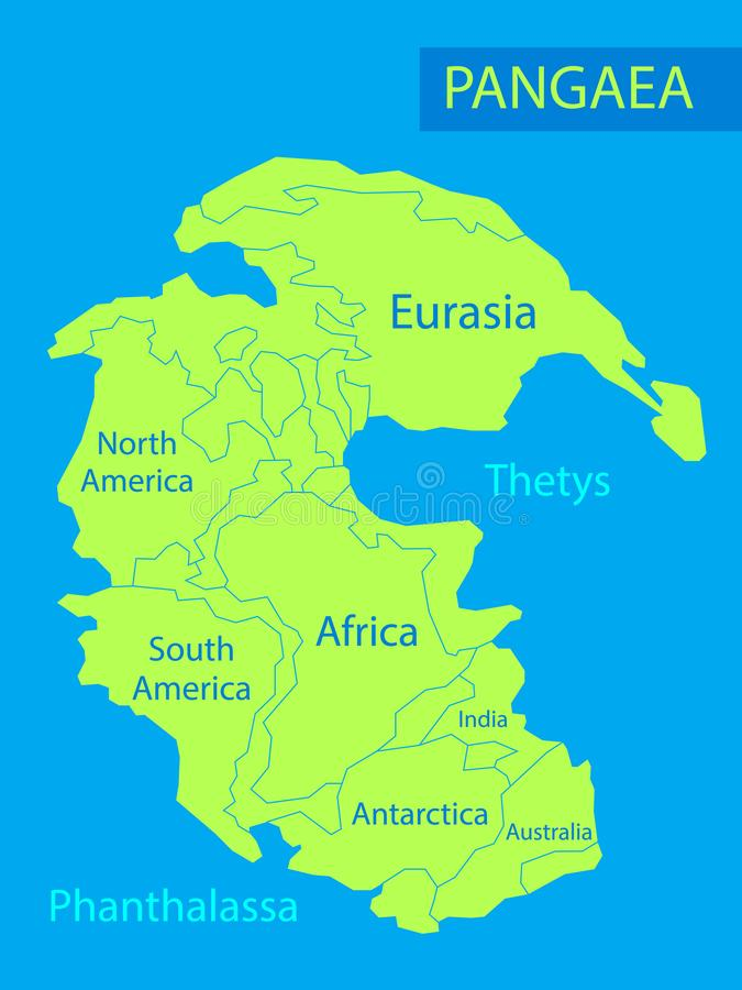 Pangaea or Pangea. Vector illustration of supercontinent that existed during the late Paleozoic and early Mesozoic eras vector illustration
