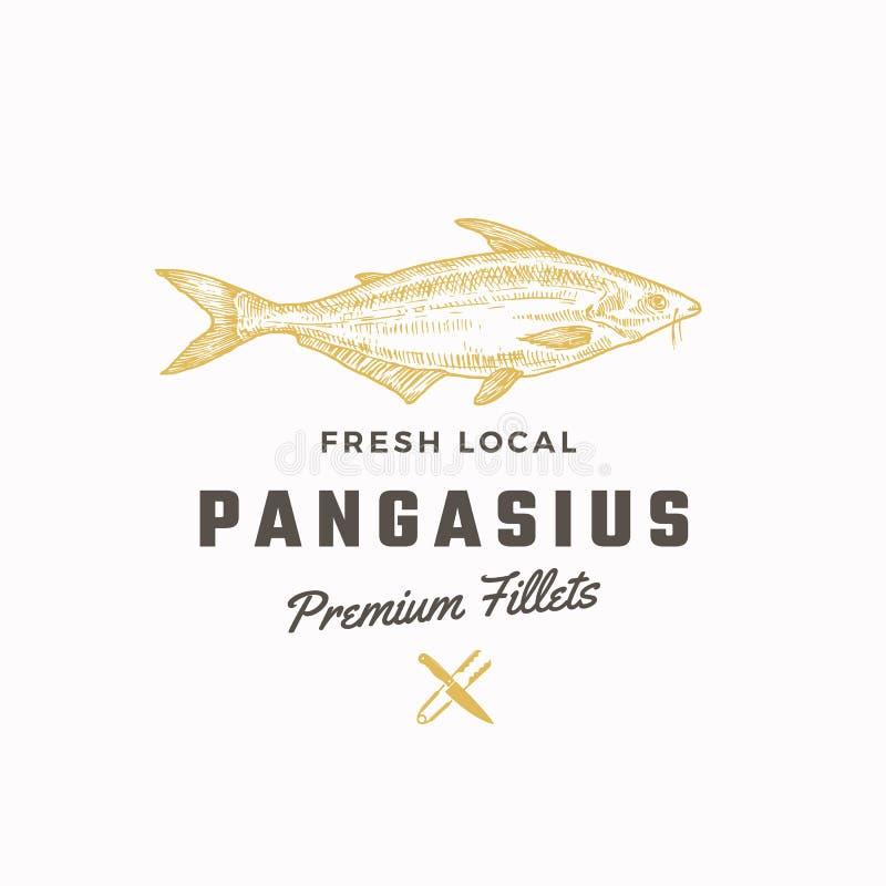Pangasius wektoru Abstrakcjonistyczny znak, symbol lub logo szablon, Ręka Rysująca Basa ryba z Z klasą Retro typografią Tongs i ilustracja wektor