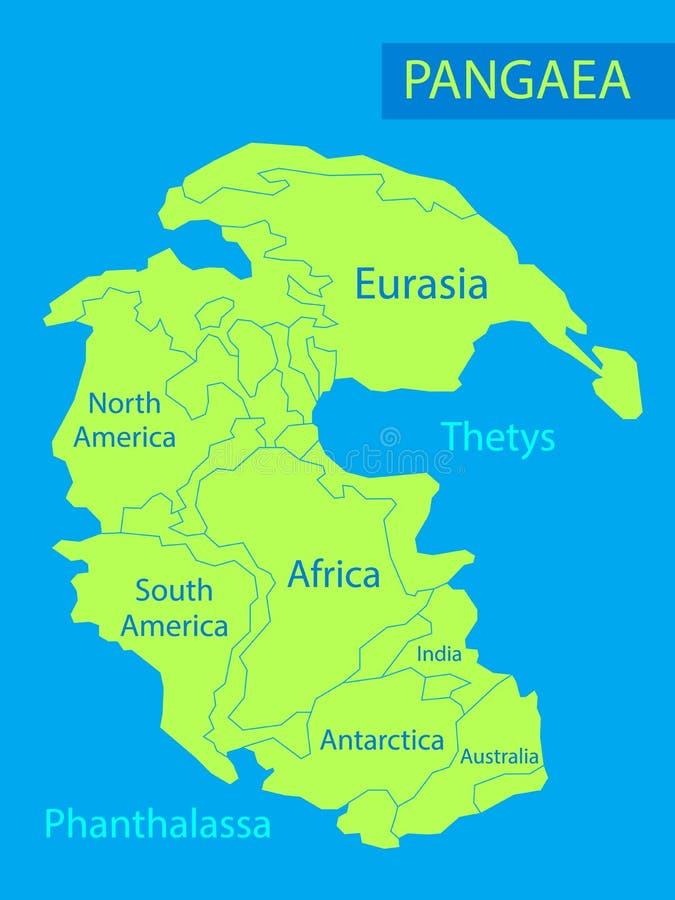 Pangea o Pangea Vector l'illustrazione di massa continentale che è esistito durante le ere mesozoiche paleozoiche ed in anticipo  illustrazione vettoriale