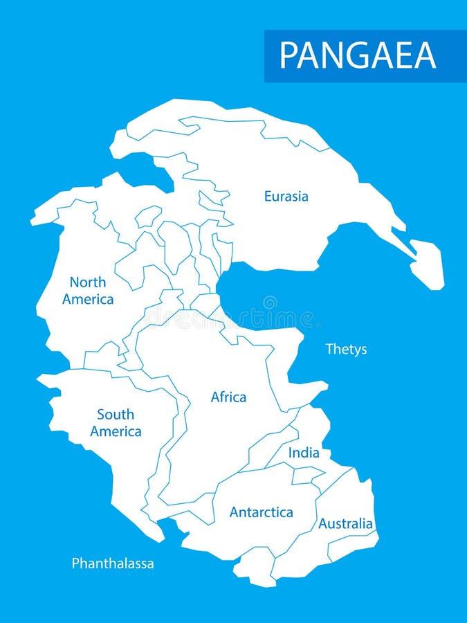 Pangea o Pangea Vector l'illustrazione di massa continentale che è esistito durante le ere mesozoiche paleozoiche ed in anticipo  illustrazione di stock