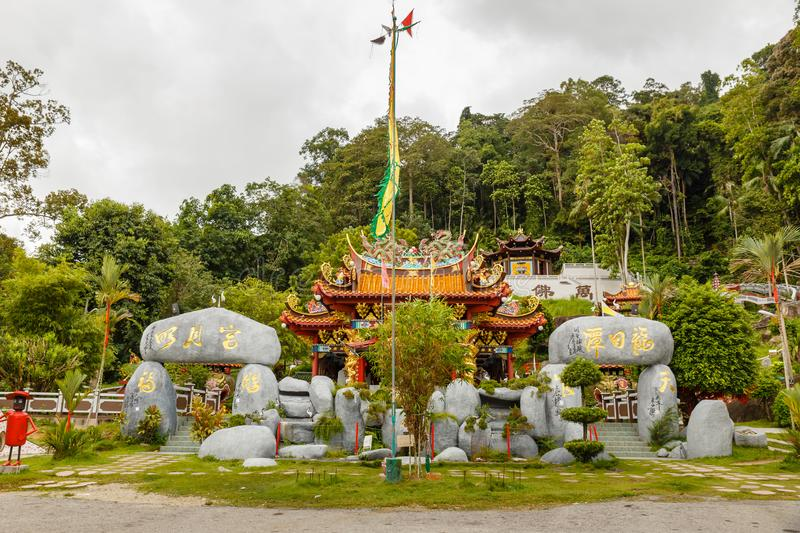 Chinese Buddhist temple on the Pangkor island. Pangkor, Malaysia - November 29, 2017: Chinese Buddhist temple on the Pangkor island stock photos