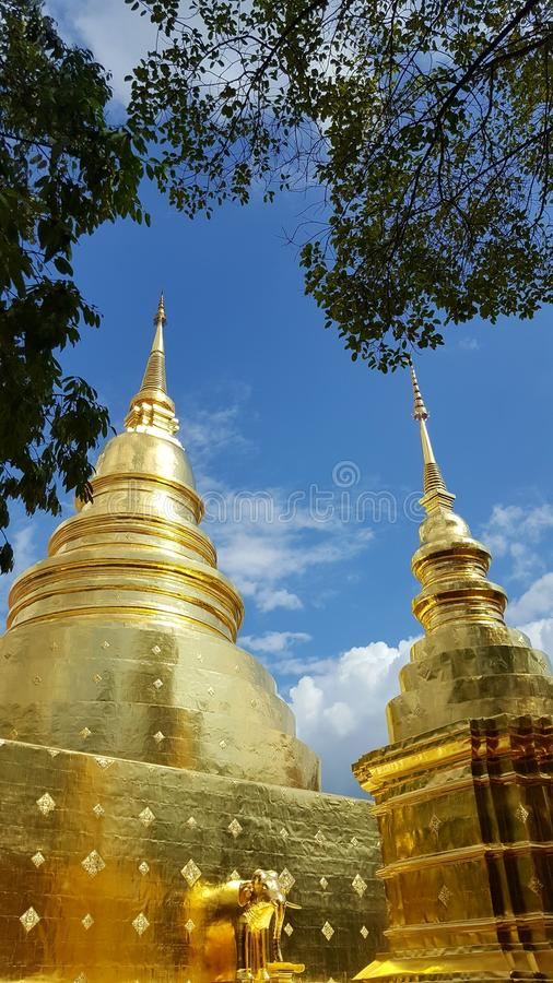 Pangoda d'or chez WattPhrasigha Chiangmai Thaïlande photographie stock libre de droits