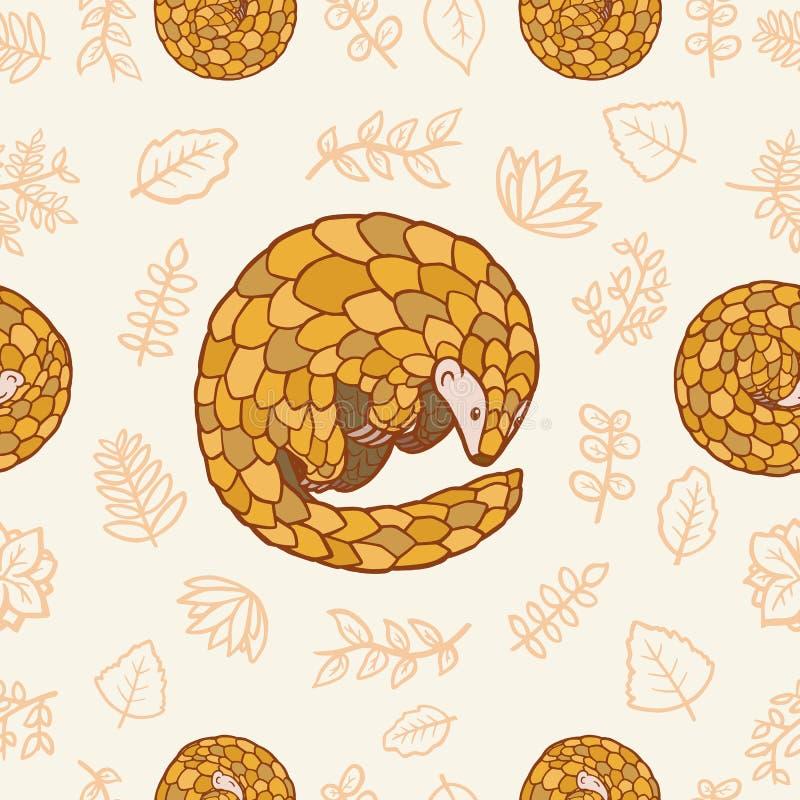 Pangolin en blad naadloos patroon stock illustratie
