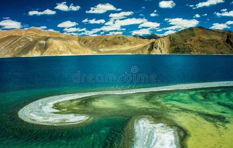 Pangong湖,拉达克,印度 图库摄影