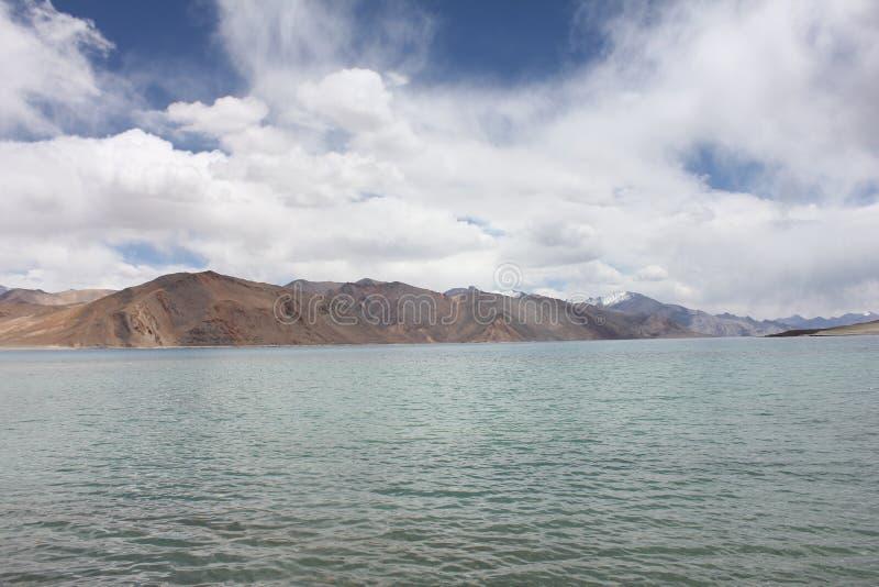 Pangong Lah ladhak Himalaya mountains, India. Pan gong lake  Leah ladhak Himalaya mountains, India, with beautiful cloudy sky royalty free stock photography