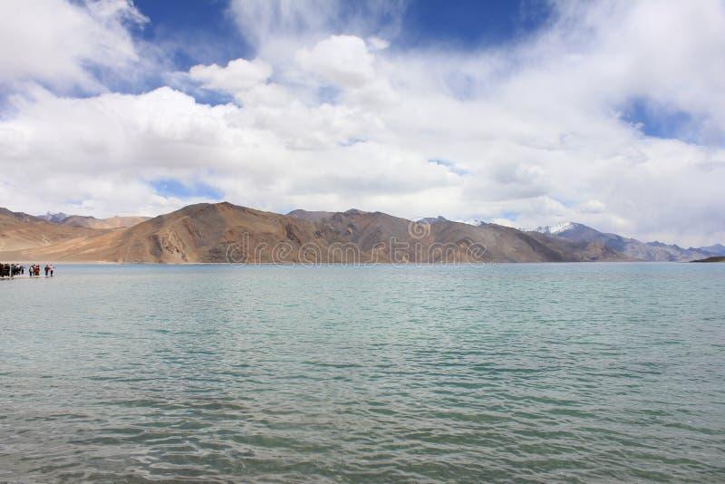 Pangong Lah ladhak Himalaya mountains, India. Pan gong lake  Leah ladhak Himalaya mountains, India, with beautiful cloudy sky stock photo