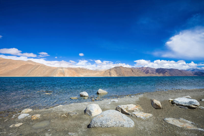Pangong Lake. Is an endorheic lake in the Himalayas royalty free stock images