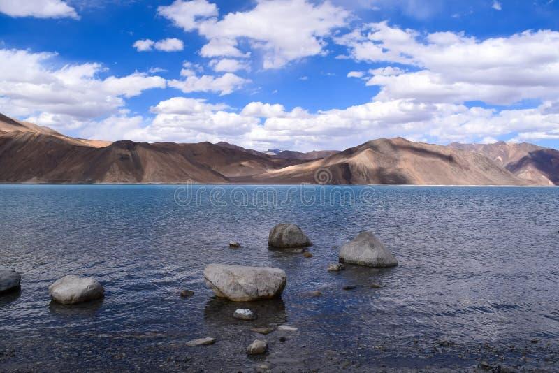 Pangong lake. Mesmerizing Beauty of pangong lake with mountains in background stock image