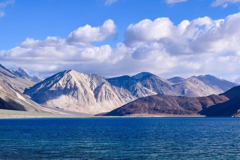 Pangong lake with pangong range in background. Mystique Pangong tso (lake) in leh and ladakh is high altitude endorheic lake royalty free stock images