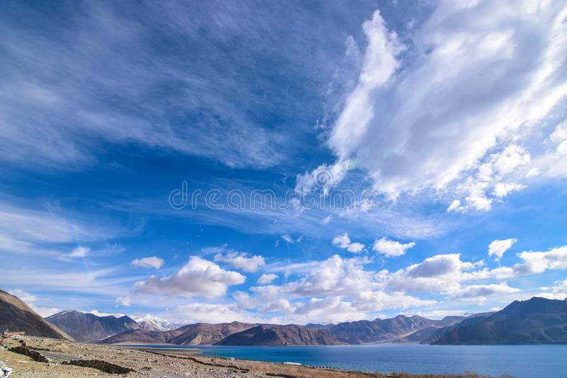 Shore of Pangong Lake in Leh, Ladakh, India. stock photo