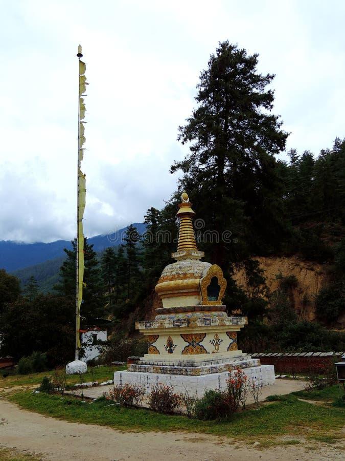 Pangri Zampa, monastero buddista a Thimphu, Bhutan immagini stock libere da diritti