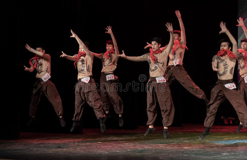 Input by canper 2-Chinese Folk Dance-Graduation Show of Dance Departmen. Pangu`s pioneering work is a Chinese classical myth story. Dancers express the spiritual stock image