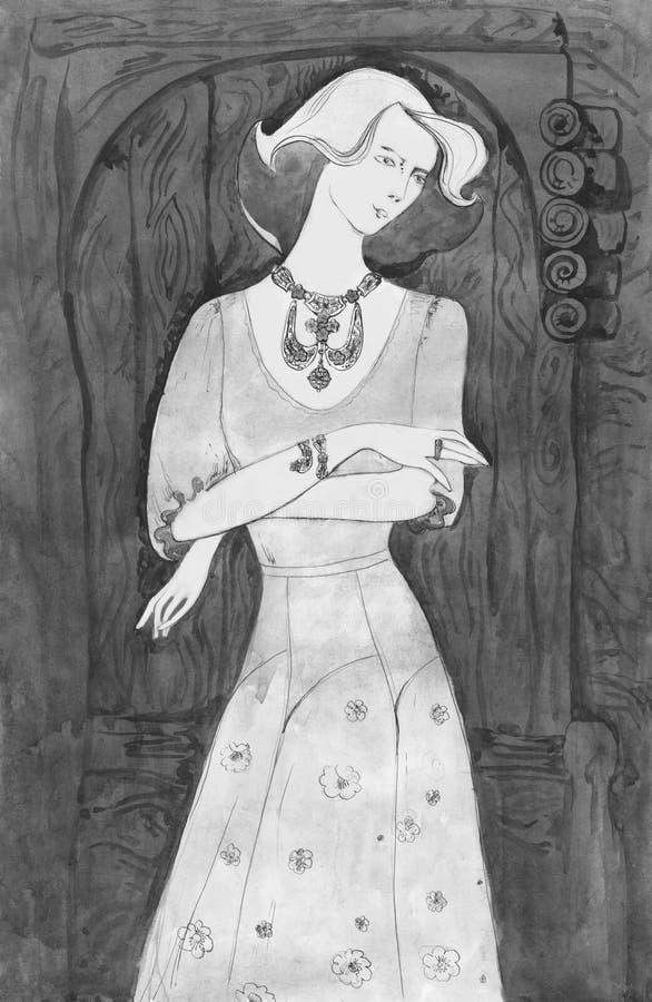pani elegancka Rocznika llustration akwarela royalty ilustracja
