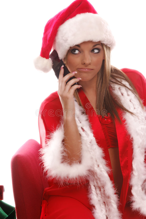 pani komórki Santa sexy fotografia stock