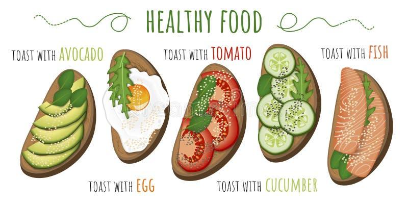 Pani tostati con l'avocado, il pomodoro, l'uovo fritto, il cetriolo ed il pesce Illustrazione di vettore isolata su priorità bass royalty illustrazione gratis