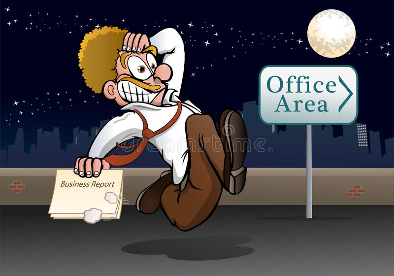 Panic business report. Illustration of a panic business man delivery business report running to office stock illustration