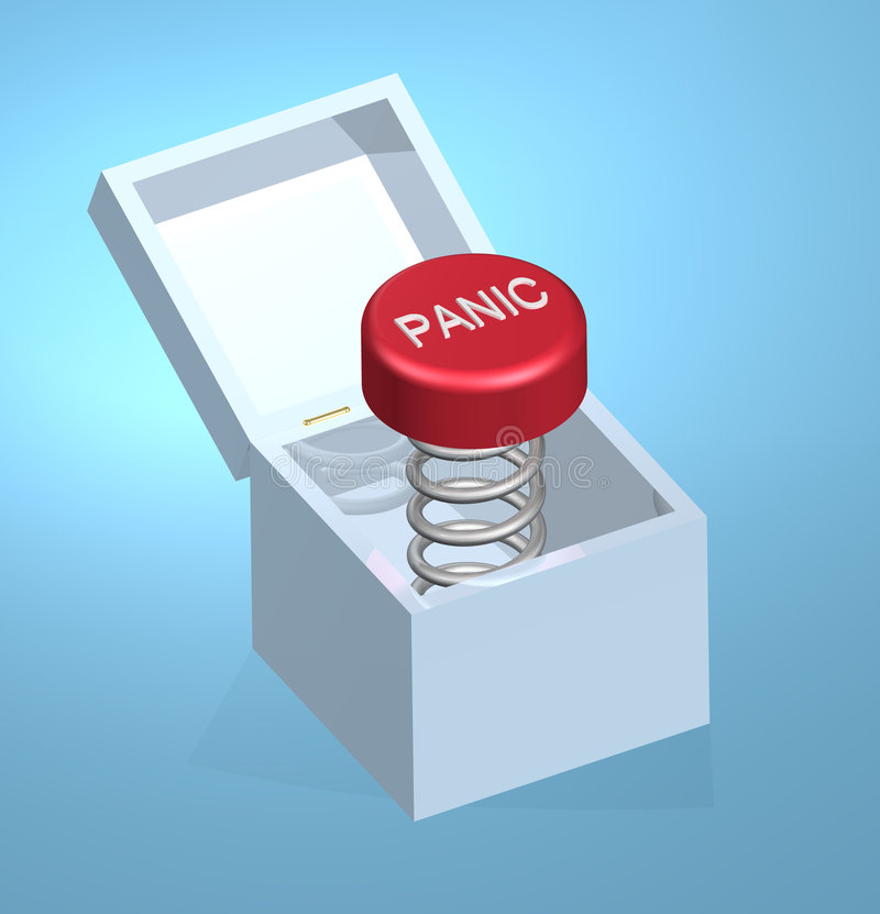 Panic Button On Coil Spring Royalty Free Stock Photo