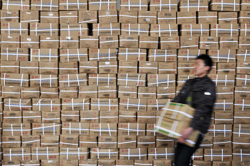 Panic buying of table salt. Fearing Radiation, Chinese Rush to Buy Table Salt in jiaxing Zhejiang China royalty free stock photography