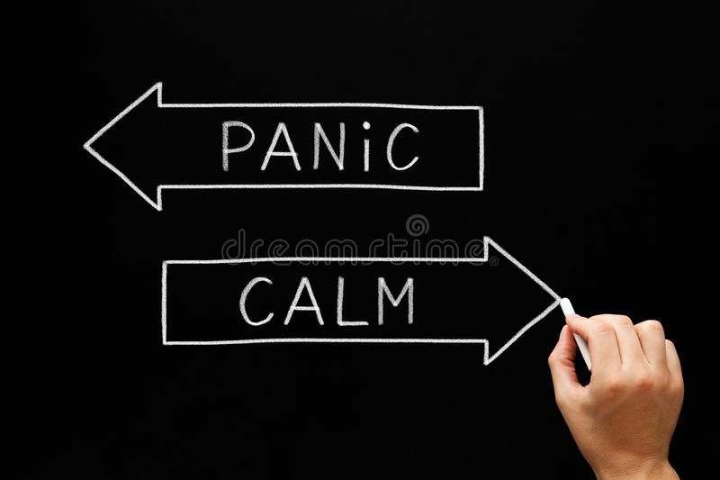 Panic or Calm Arrows Concept. Hand drawing Panic or Calm concept with white chalk on blackboard royalty free stock images