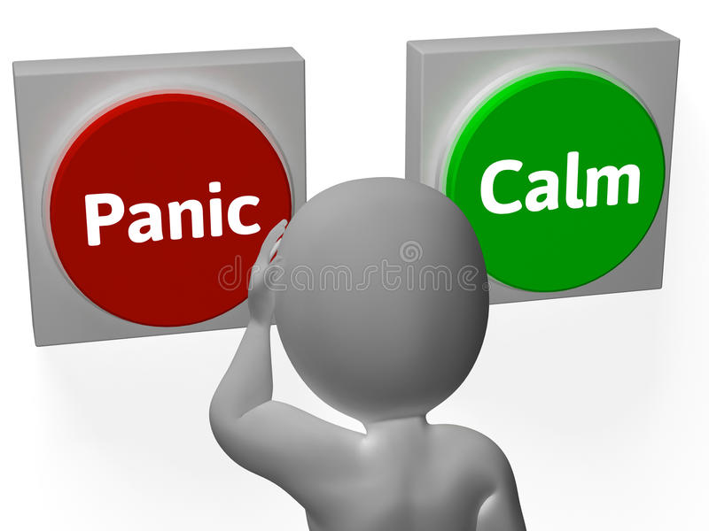 Panic Calm Buttons Show Worrying Or Tranquility royalty free illustration