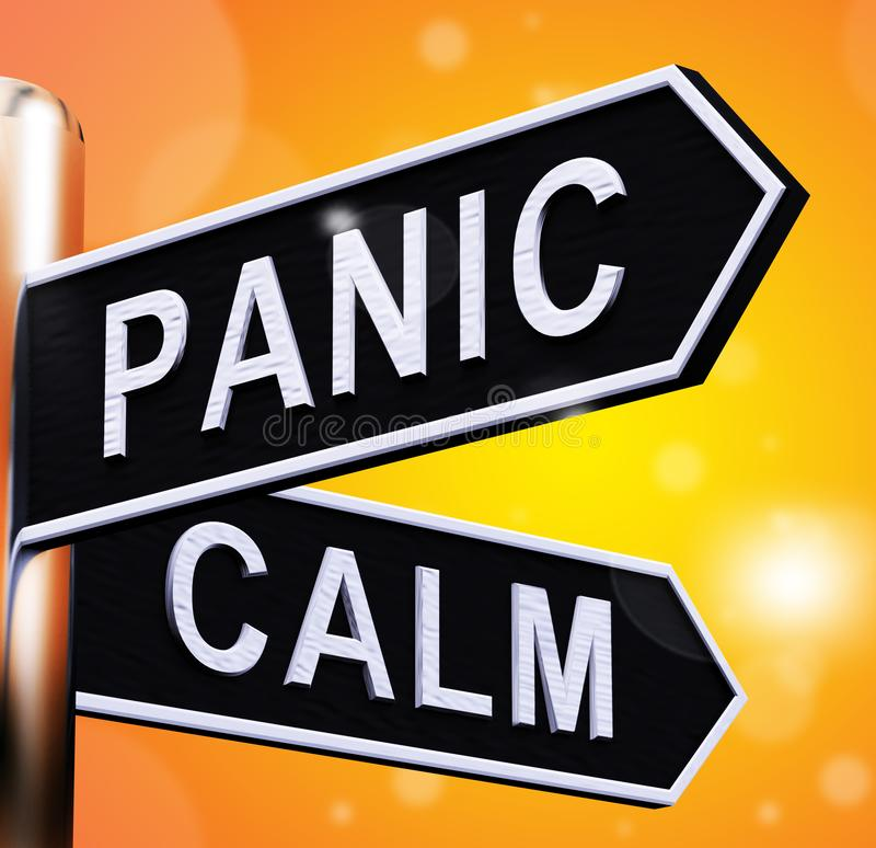 Panic Or Calm Signpost Showing Chaos Relaxation 3d Illustration. Panic Or Calm Signpost Shows Chaos Relaxation 3d Illustration stock illustration