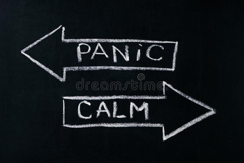 Panic or calm stock photos