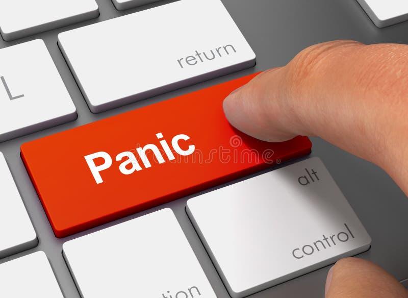 Panic pushing keyboard with finger 3d illustration vector illustration
