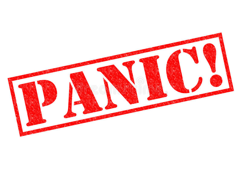 PANIC!. Red Rubber Stamp over a white background stock illustration
