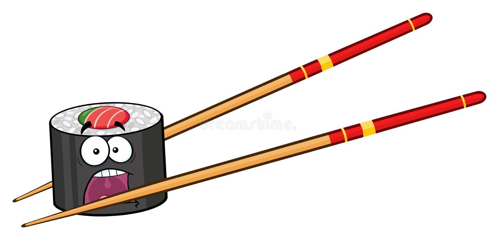 Panic Sushi Roll Cartoon Mascot Character With Chopsticks royalty free illustration