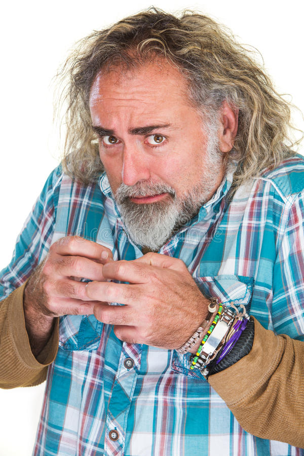 Panicking Man. Single adult middle aged male in state of panic royalty free stock image