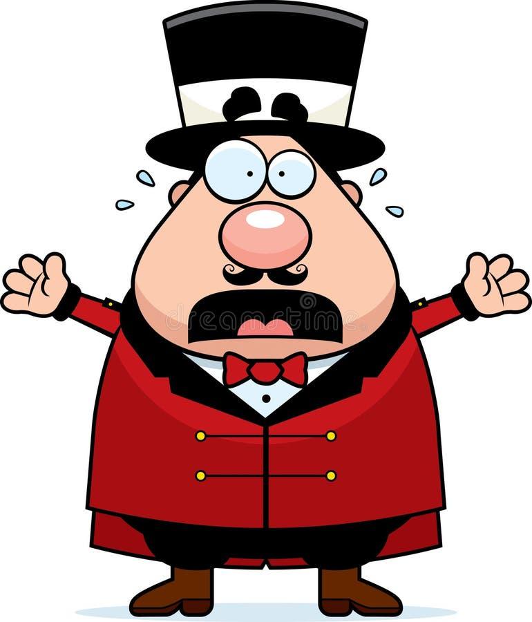 Panico del direttore del circo del circo del fumetto royalty illustrazione gratis