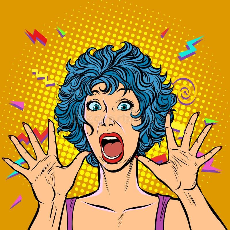 Panico della donna, timore, gesto di sorpresa Ragazze 80s royalty illustrazione gratis