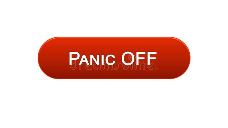 Panico fuori da colore rosso del bottone dell'interfaccia di web, progettazione del sito internet, programma online royalty illustrazione gratis