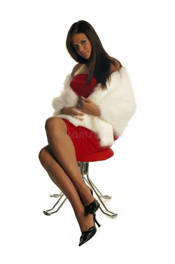 panie czerwony seksowna krzesło zdjęcie stock