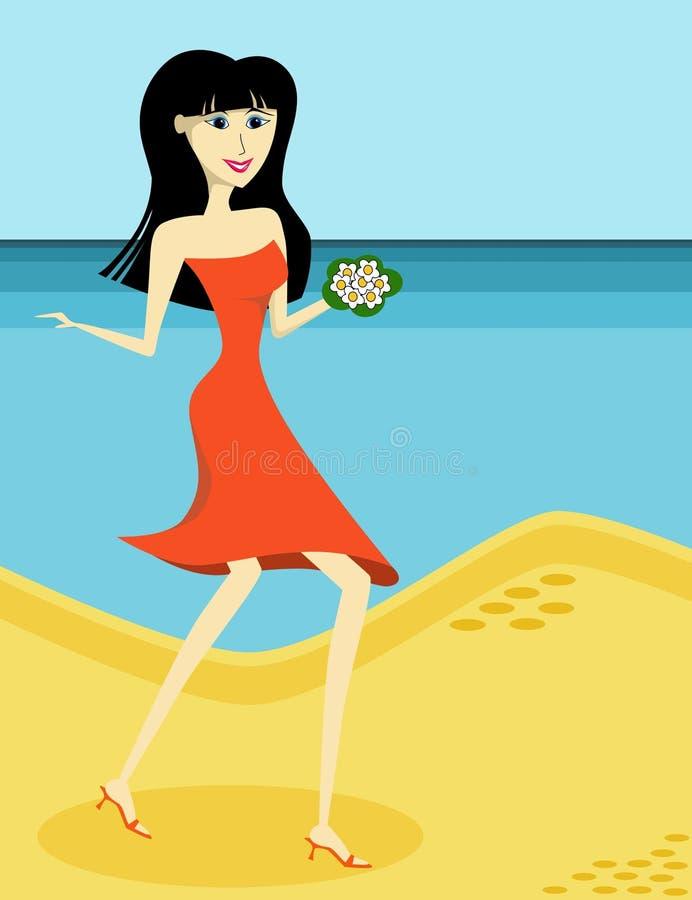 panie plażowa pomarańcze ilustracja wektor