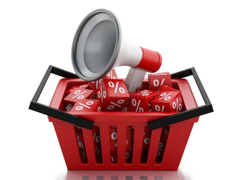 panier à provisions 3d avec des cubes en remise illustration libre de droits