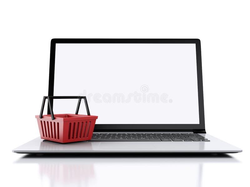 panier à provisions 3D Concept en ligne d'achats illustration de vecteur
