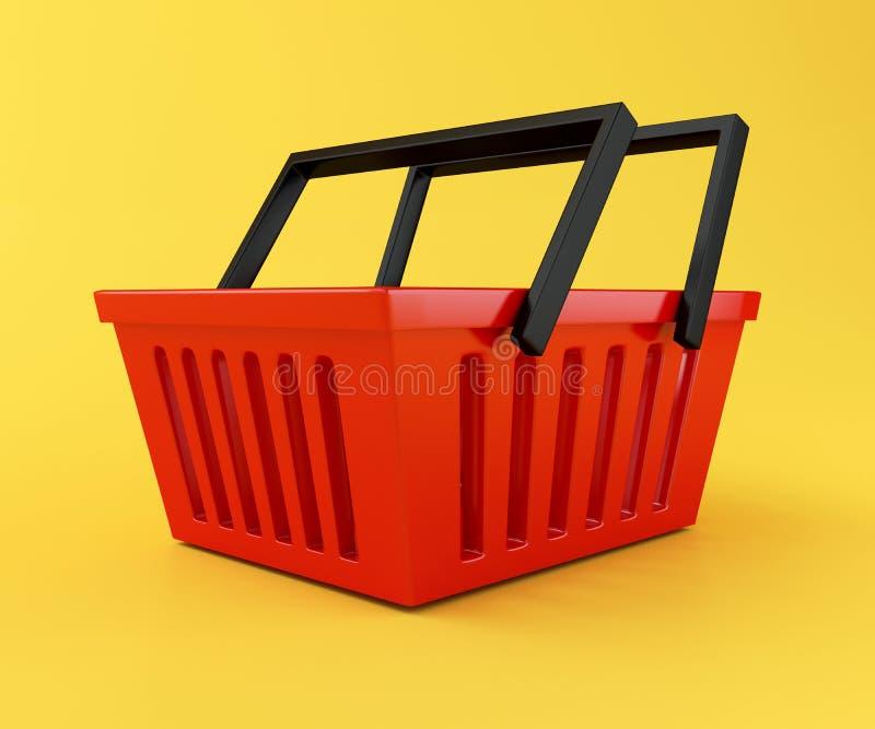 panier à provisions 3D rouge illustration de vecteur